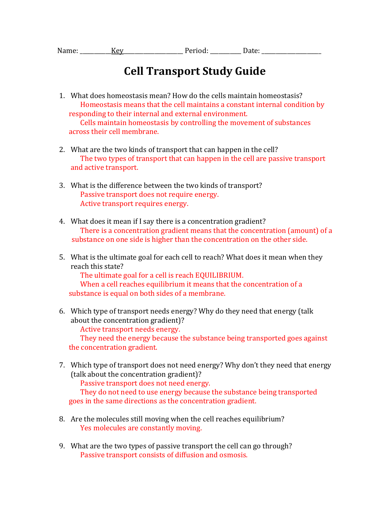 Cell Transport Study Guide Answers