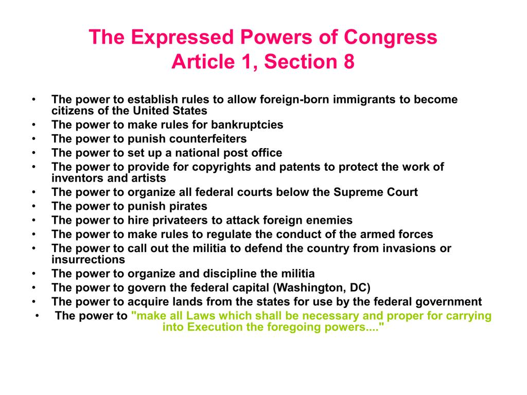 Powers Of Congress Worksheet