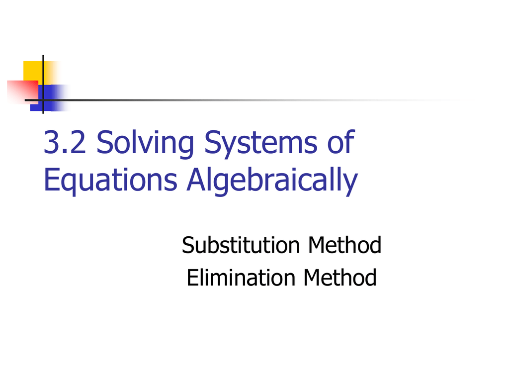 Solving Systems Of Equations Algebraically Worksheet Answers