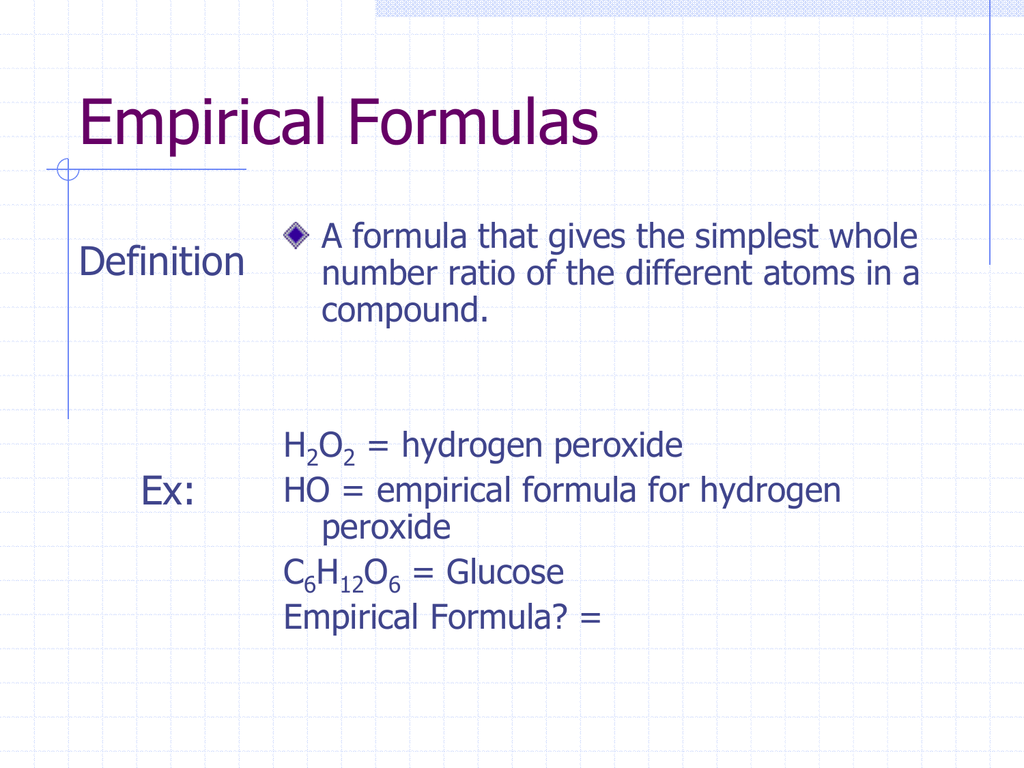 Molecular Vs Empirical Formula