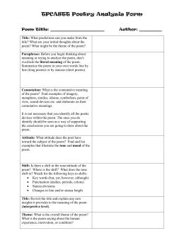 Tpcastt Method For Poetry Readingysis