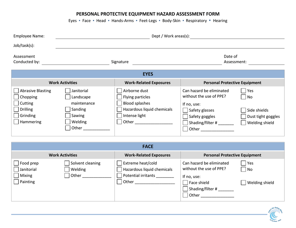 Personal Protective Equipment Hazard Assessment Form