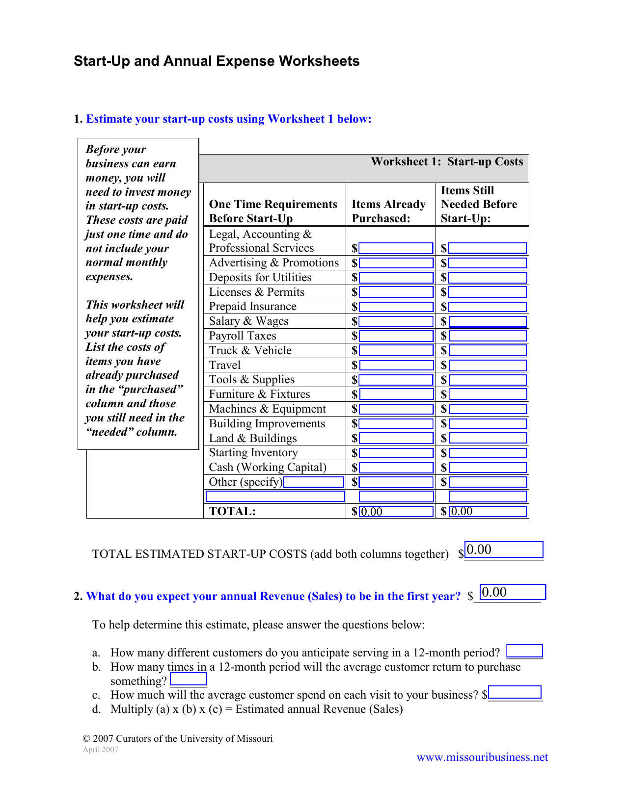 Start Up And Annual Expense Worksheets
