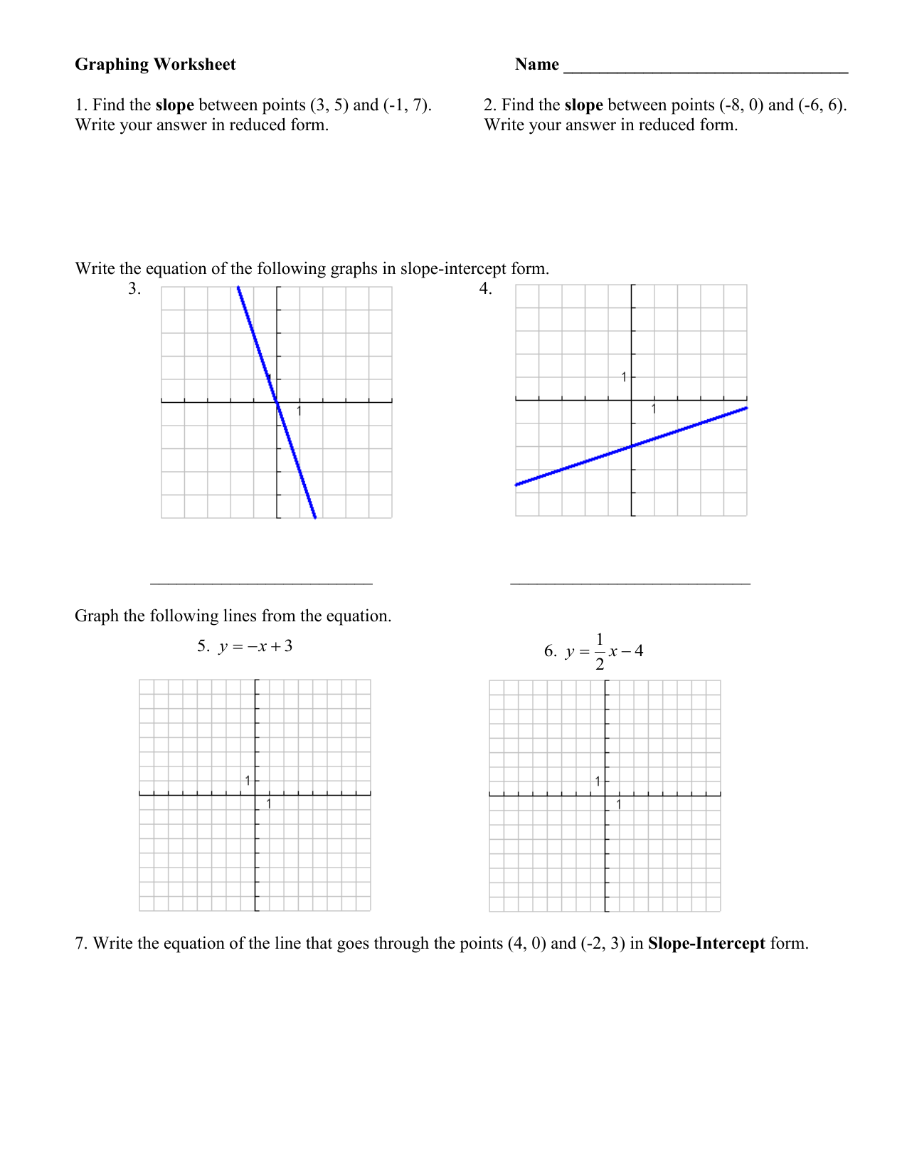 Graphing Worksheet Name Slope