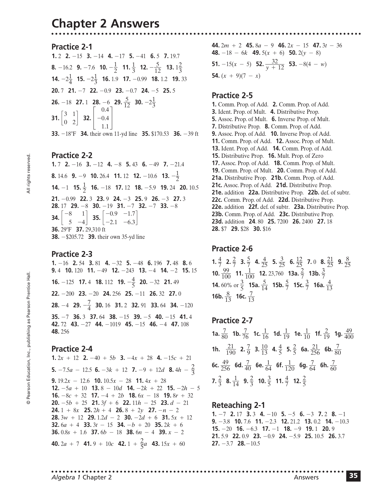 Chapter 2 Answers Practice 2 1 Practice 2 2