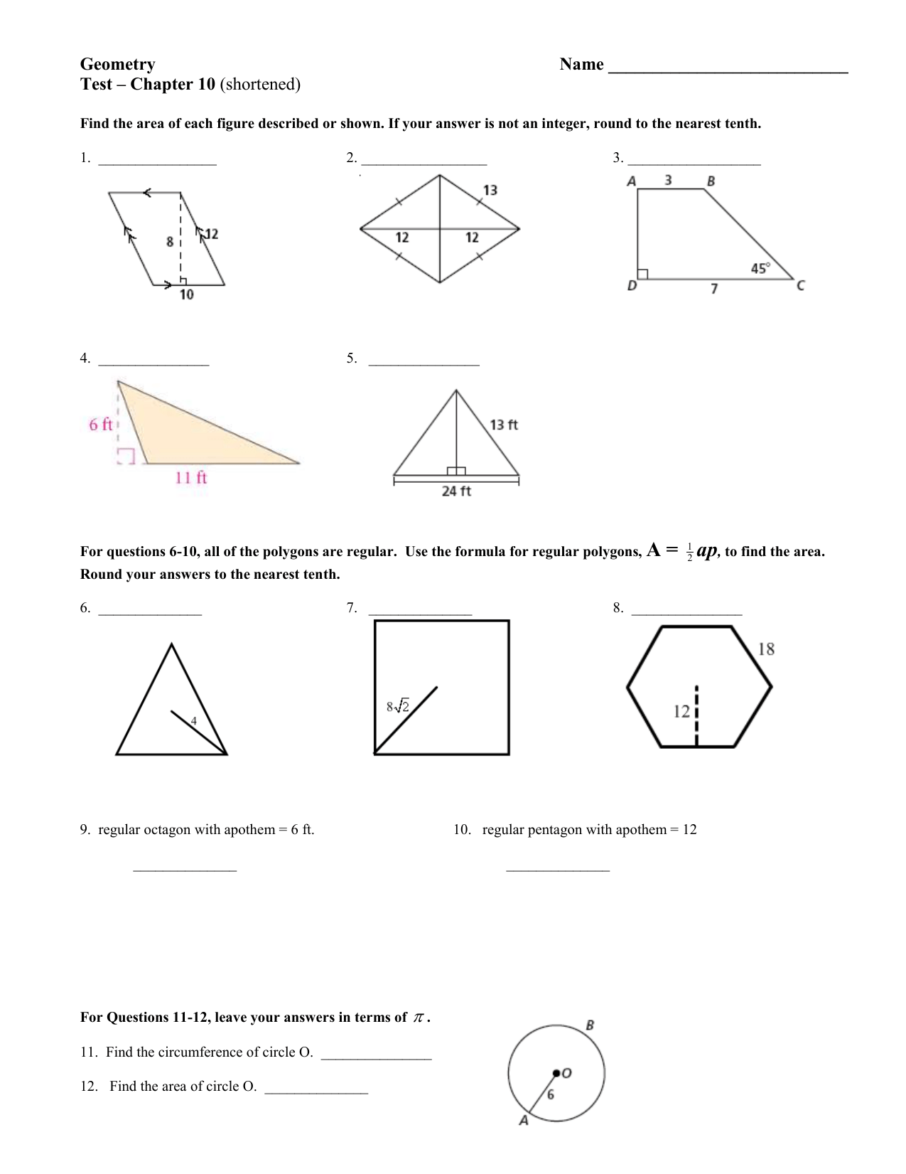 Geometry Name Test Chapter 10