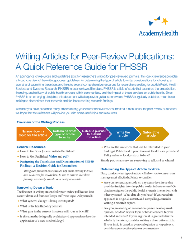Writing Articles for Peer-Review Publications: A Quick Reference