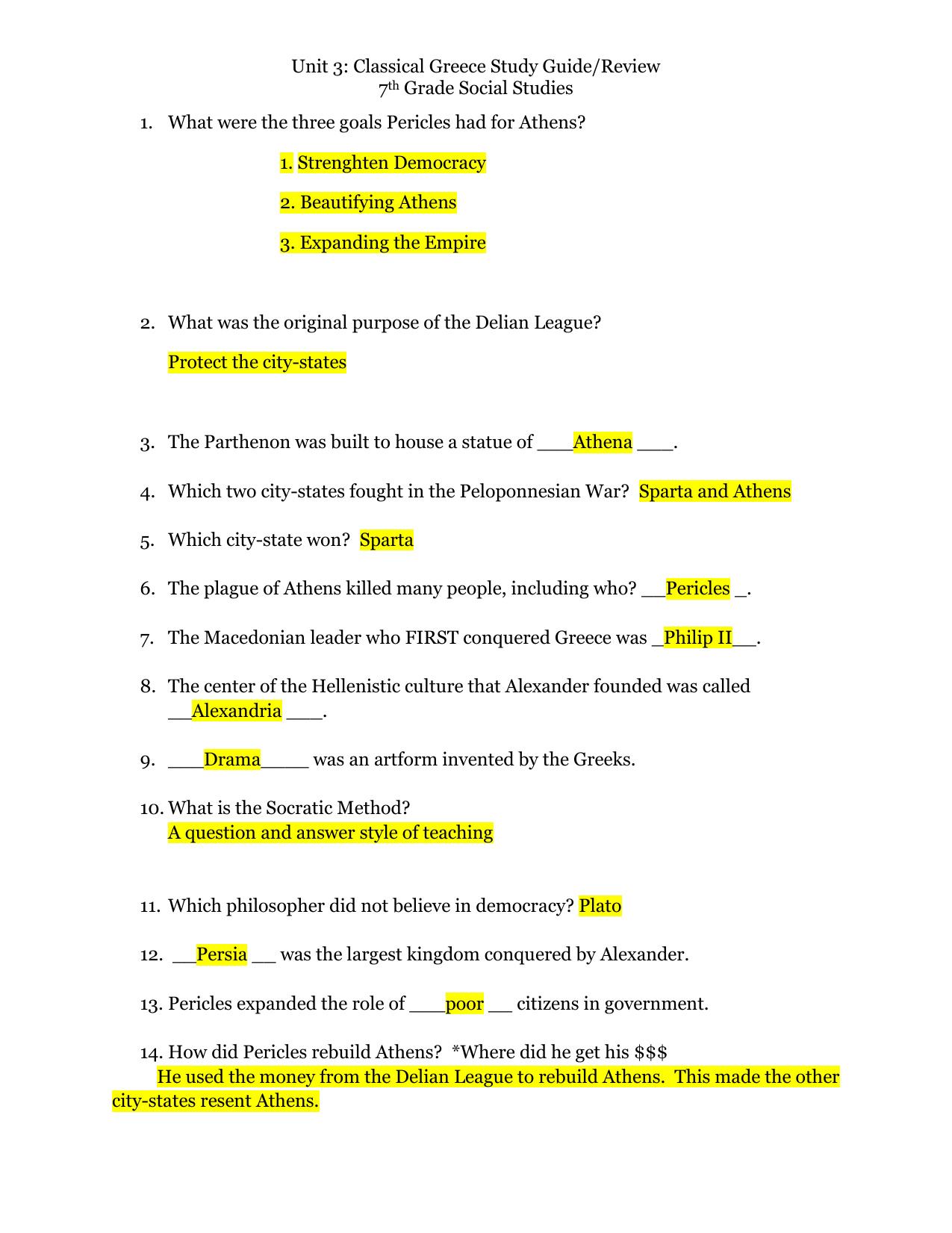 Unit 3 Classical Greece Study Guide Review 7 Grade Social