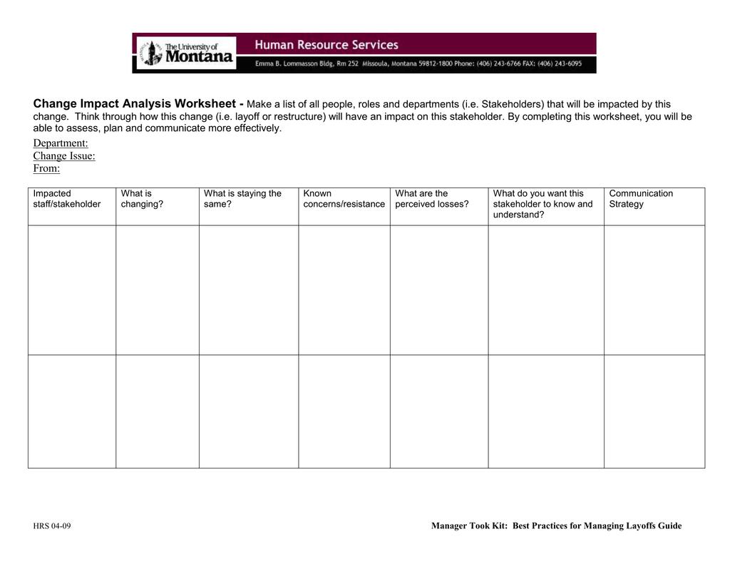 Change Impactysis Worksheet