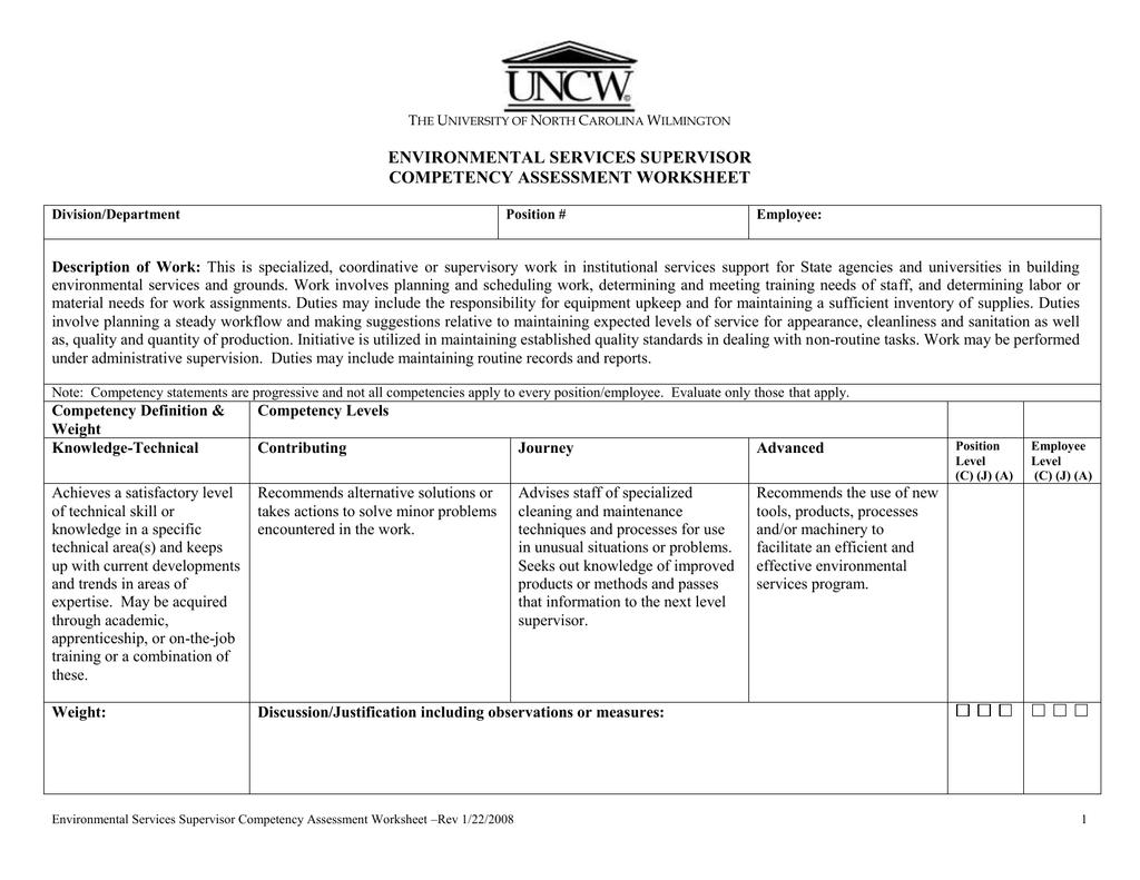 Environmental Services Supervisor Competency Assessment Worksheet