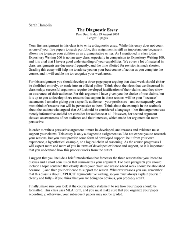The Diagnostic Essay Sarah Hamblin
