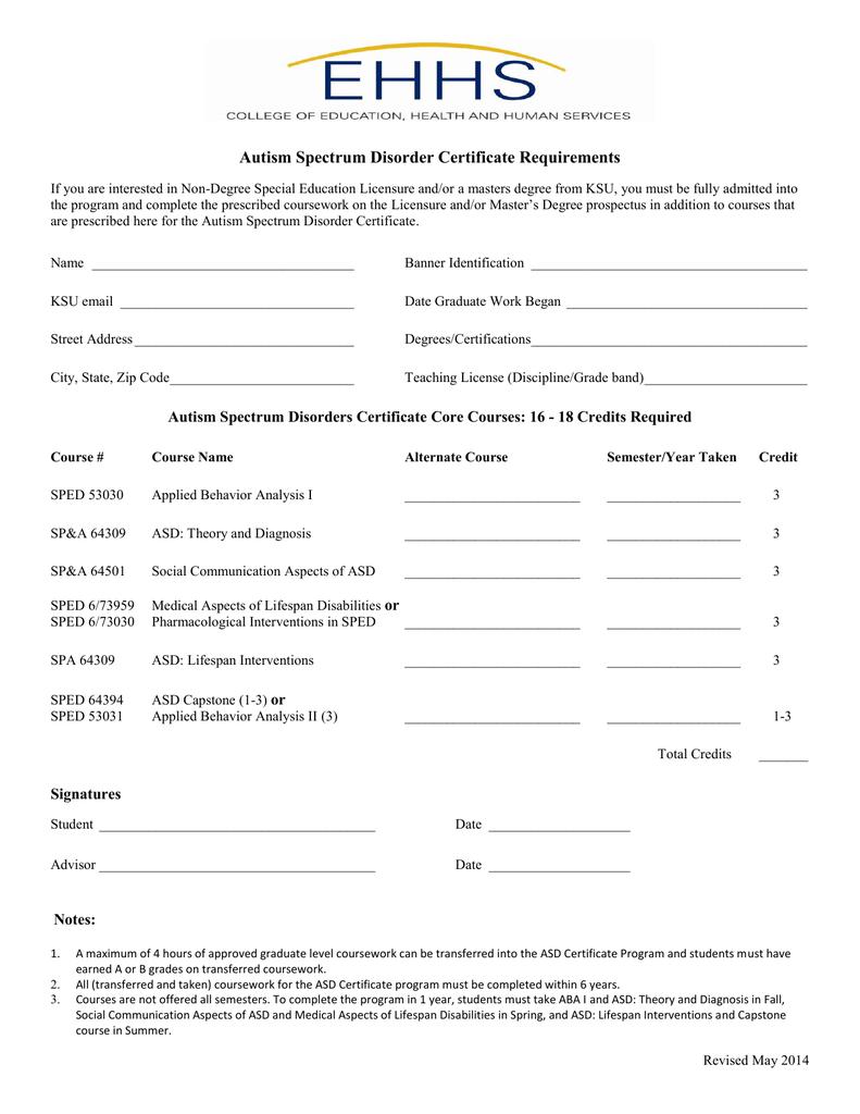Autism Spectrum Disorder Certificate Requirements