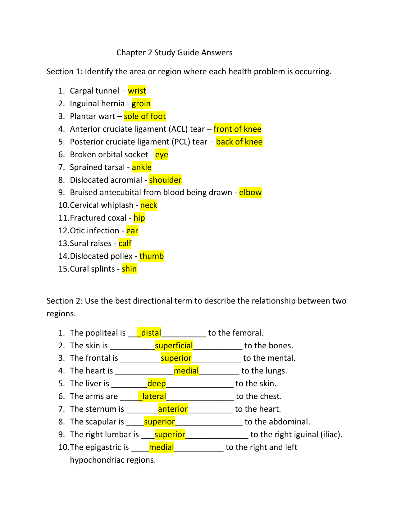 Chapter 2 Study Guide Answers