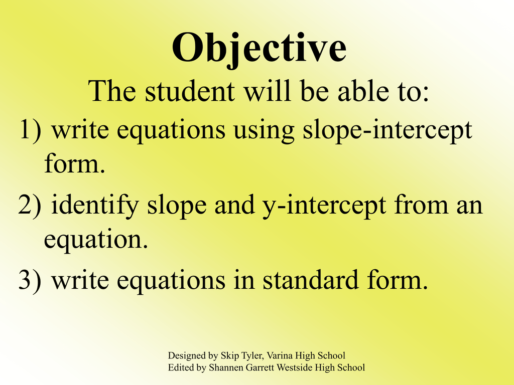 Write Linear Equations In Slope Intercept Form Powerpoint