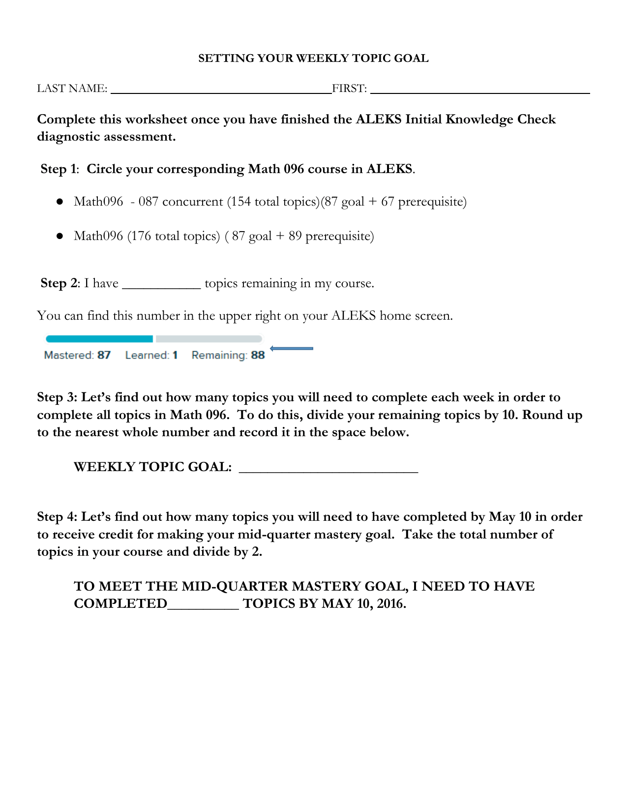 Complete This Worksheet Once You Have Finished The Aleks