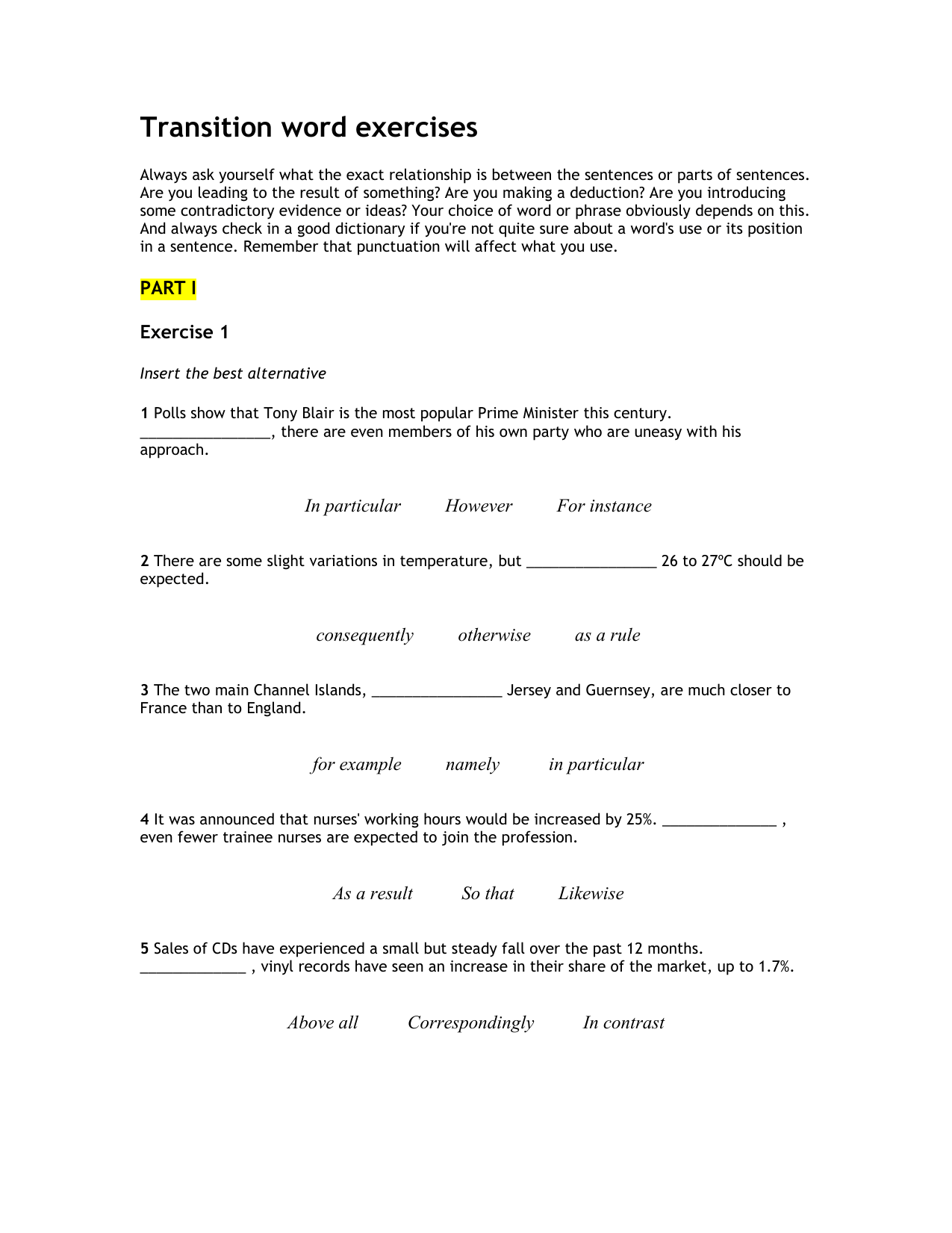 Transition Word Exercises 1c