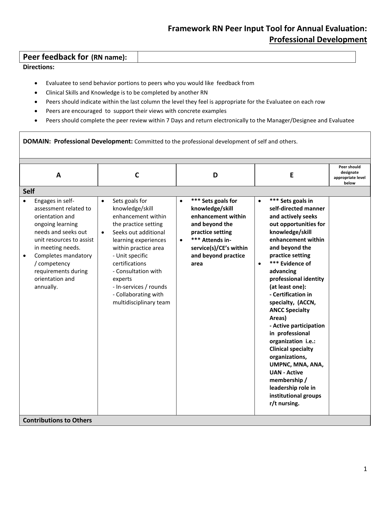 Framework Rn Peer Input Tool For Annual Evaluation