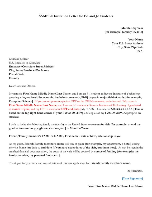 Sample Invitation Letter For F 1 And J