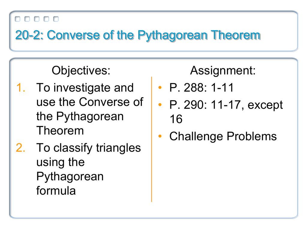 20 2 Converse Of The Pythagorean Theorem