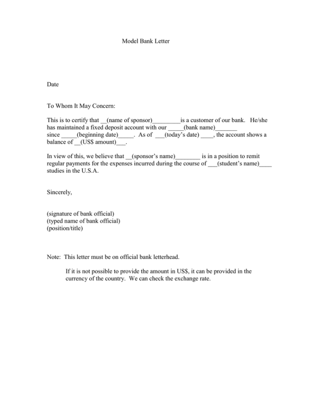 Model Bank Letter Date To Whom It May Concern: