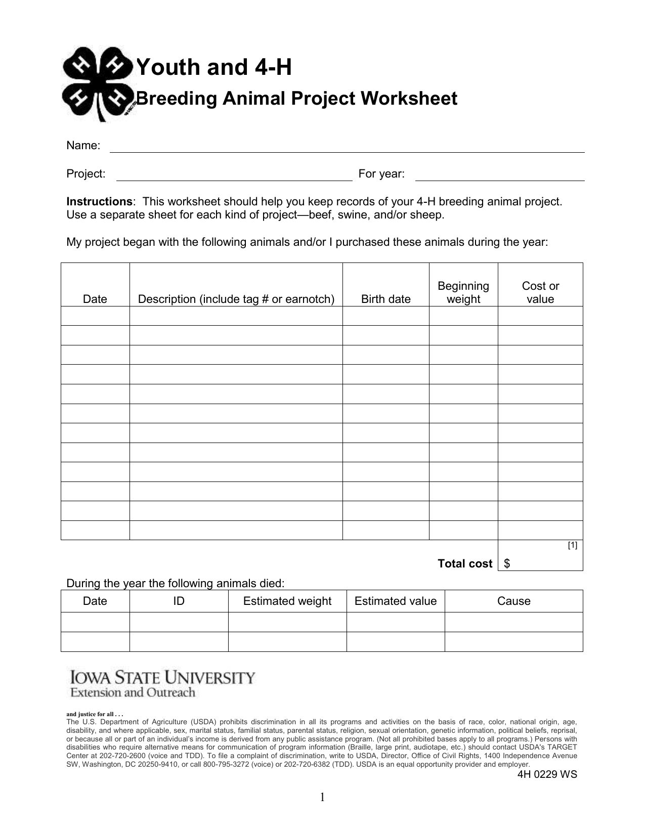 Youth And 4 H Breeding Animal Project Worksheet