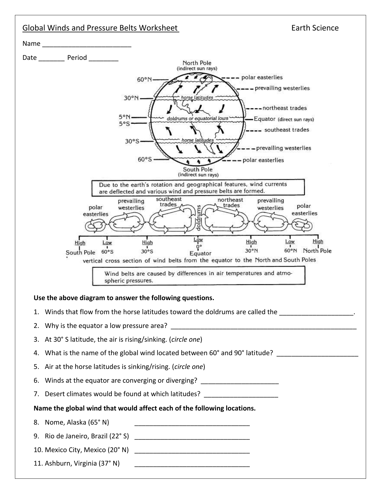 Global Winds And Pressure Belts Worksheet Earth Science