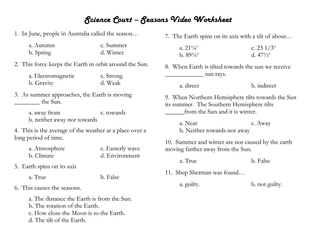 Science Court Seasons Video Worksheet