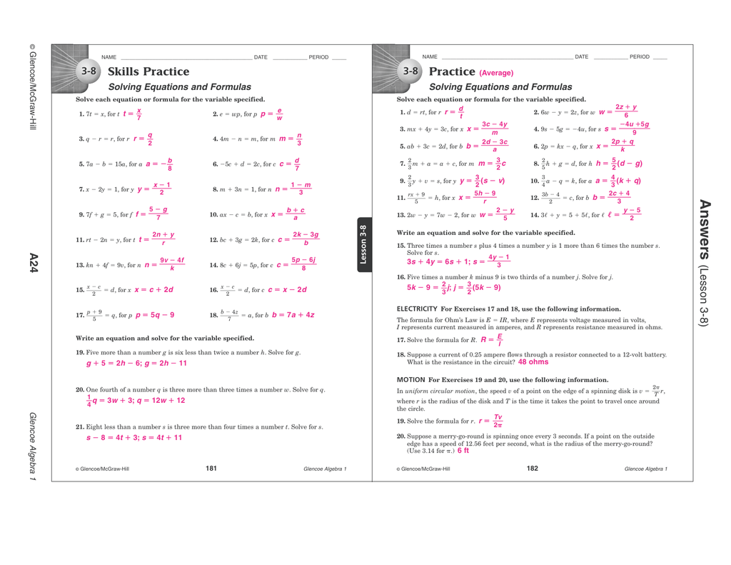 10 8 Skills Practice Equations Of Circles Worksheet Answers