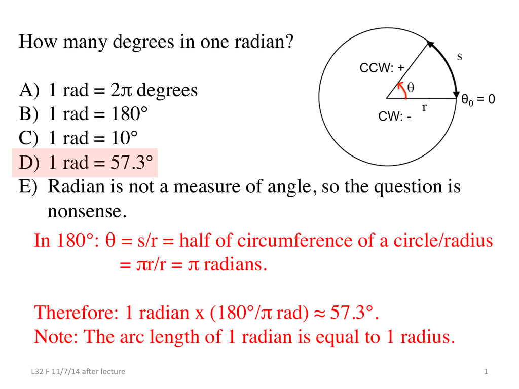 How Many Degrees In One Radian A 1 Rad 2 Degrees B 1 Rad
