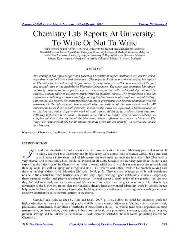 Chemistry Lab Reports At University