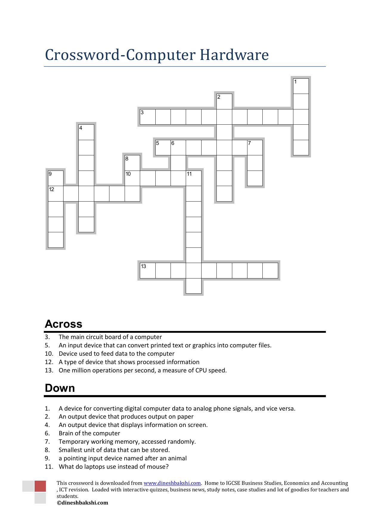 Crossword Computer Hardware