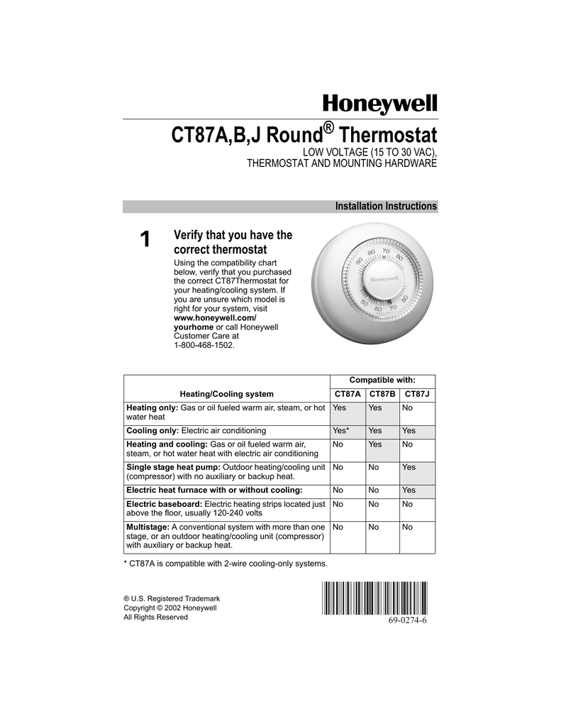 Honeywell Thermostat Ct31a Wiring Diagram