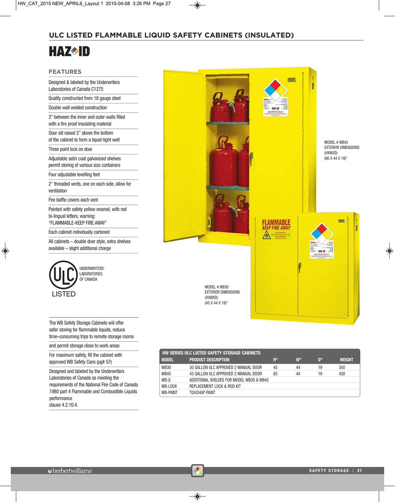 Ulc Listed Flammable Liquid Safety Cabinets