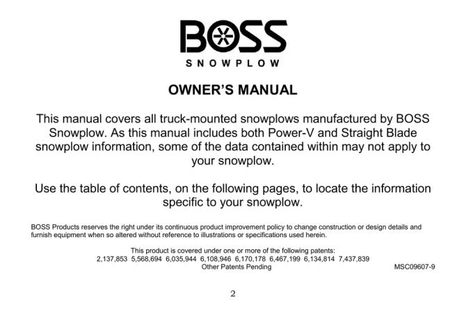 owners manual  boss snowplow