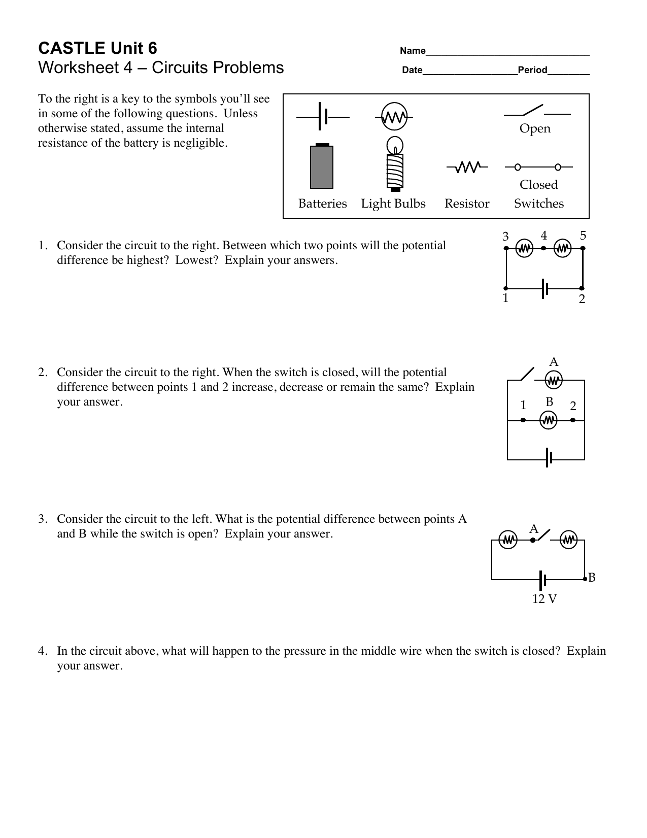 Castle Unit 6 Worksheet 4 Circuits Problems
