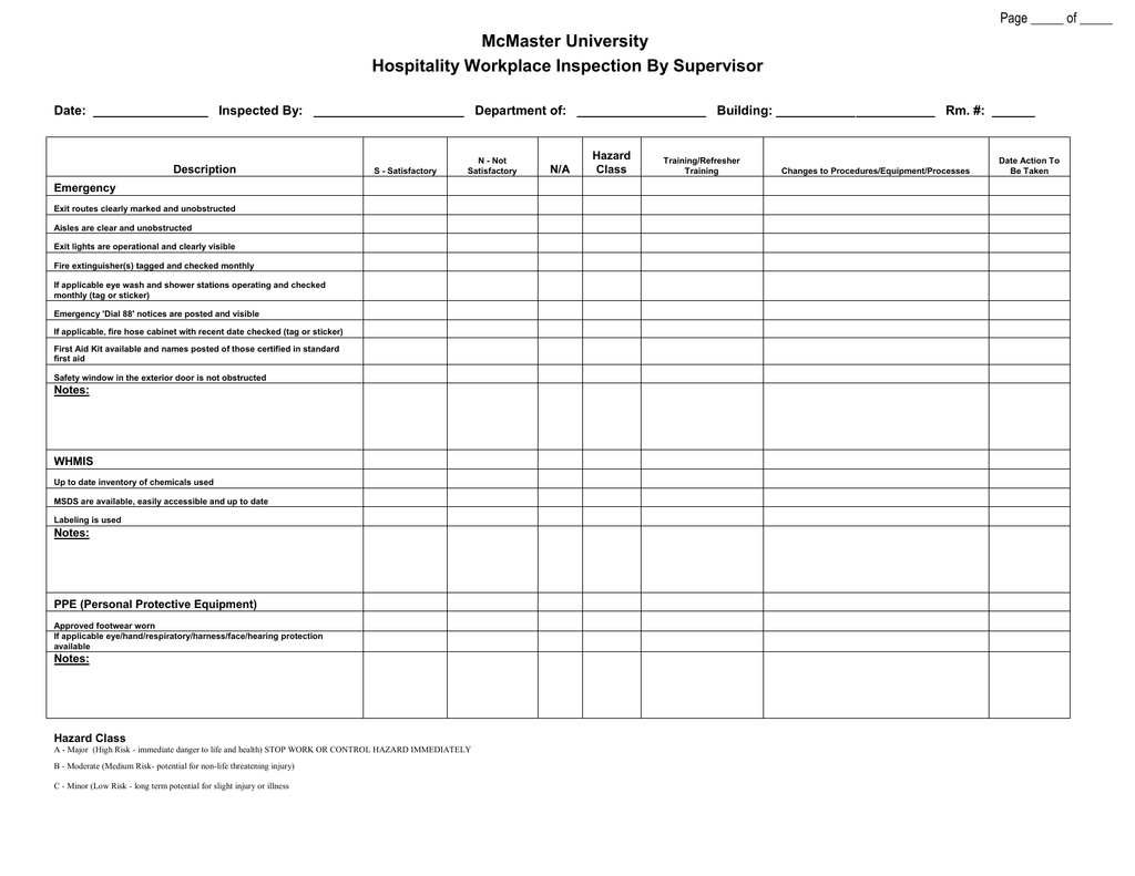 hospitality inspection form