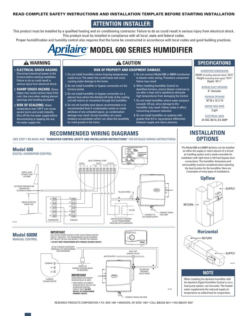 Aprilaire 760 Wiring Diagram Model