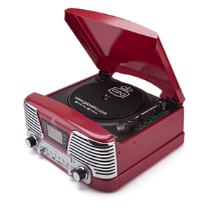GPO Retro Memphis Turntable 4-in-1 Music System with Built in CD and FM Radio - Red