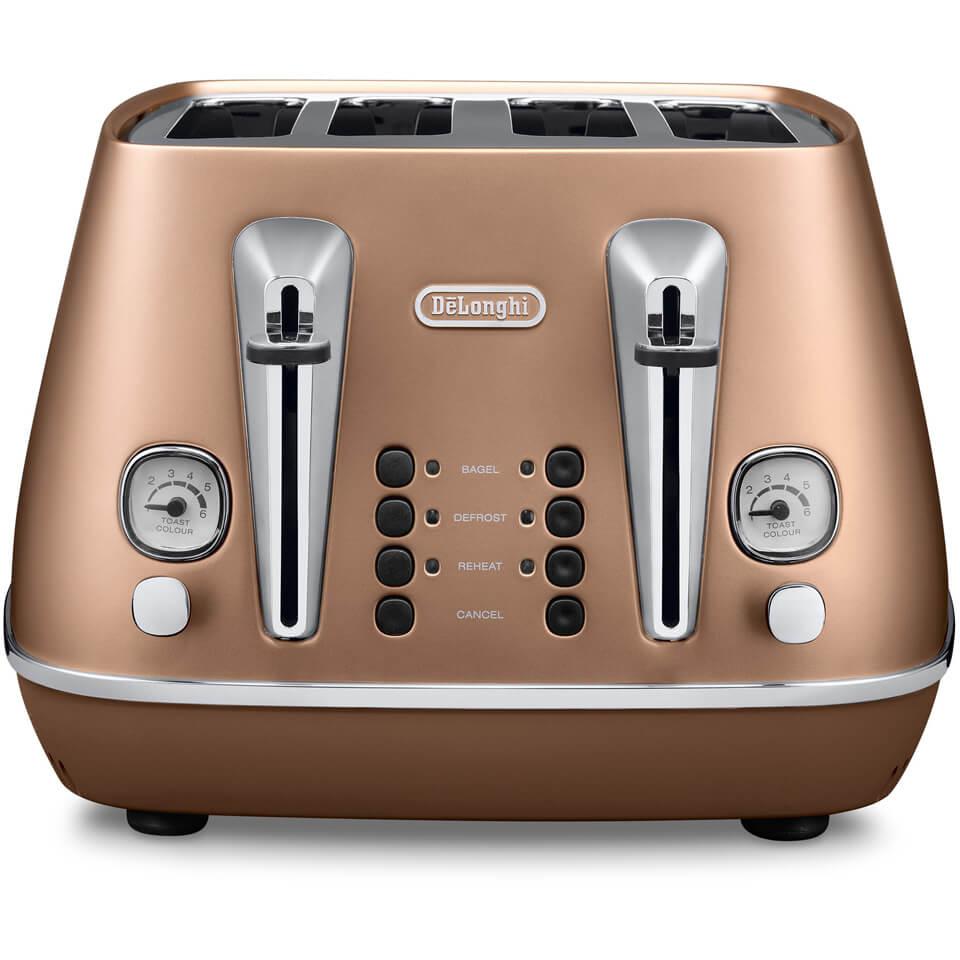DeLonghi CTI4003CP Distinta 4 Slice Toaster Copper