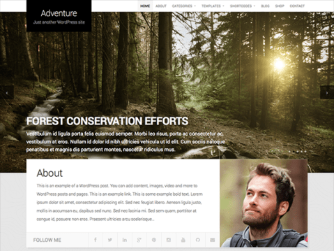 A theme created for sharing travels and adventure.