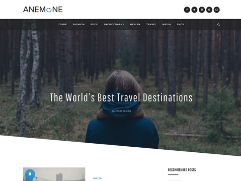 Anemone is a clean, responsive, retina ready and modern WordPress theme suitable for personal blogs or small and medium sized magazine websites. It comes with theme customizer, parallax hero, wide or boxed layout, sidebar positions, sticky menu, sticky sidebar, featured posts, custom widgets, and many other options which make your work easier. We hope you will enjoy it and have a good time publishing your articles.