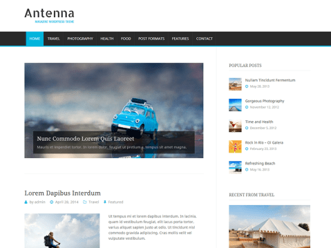 Antenna is a responsive and beautiful magazine theme for all those who need a great looking website. Antenna is focused on clean and modern design that supports boxed and full width layout. It is really easy to setup via theme customizer.