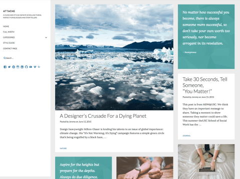 A clean and stylish infinite scrolling theme, perfect for bloggers and storytellers.