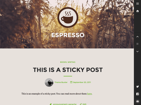 A sophisticated, responsive portfolio theme designed by Justin Caroll, perfect for showcasing your work. With a convenient slide-out sidebar, bold featured images, and quick access to your favorite social networks, Espresso will make your portfolio stand out from the rest.