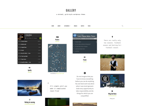 A grid-based theme with masonry layout, infinite scroll, and single column post layouts.