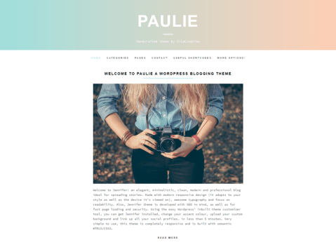 Paulie is a simple, clean and elegant WordPress blog theme that sports a unique and beautiful design. Perfect for people that just want to spread their stories in an easy way in WordPress.com.