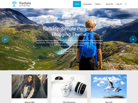 Radiate is a clean, creative and minimal personal blogging responsive WordPress theme. The theme has full width slider to highlight some of your unique posts and has featured pages section to tell more about you. Just focus on writing beautiful content and everything else will be handled by this theme in a simple manner.