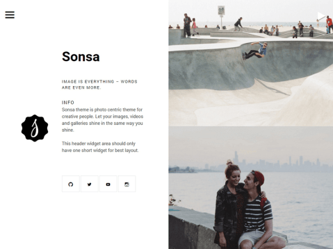 Sonsa is a modern and clean photo centric blog theme. It's perfect for sharing your stories with images, video and audio.