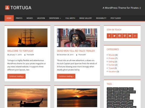 Ahoy! Tortuga is a flexible and adventurous WordPress theme for your magazine, personal blog, or any news-related website. It supports a grid layout for posts, an optional sidebar, and a beautiful featured-post slider. Arrr!
