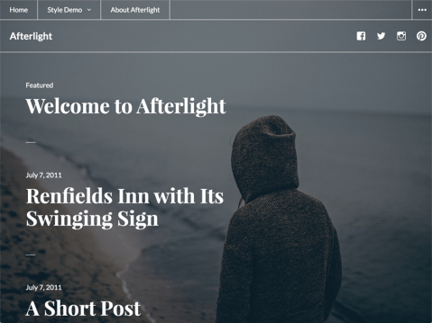 Afterlight is a monochromatic blog theme with an option for a full-screen background image. Add your favorite background image or color to lend your personal flair.